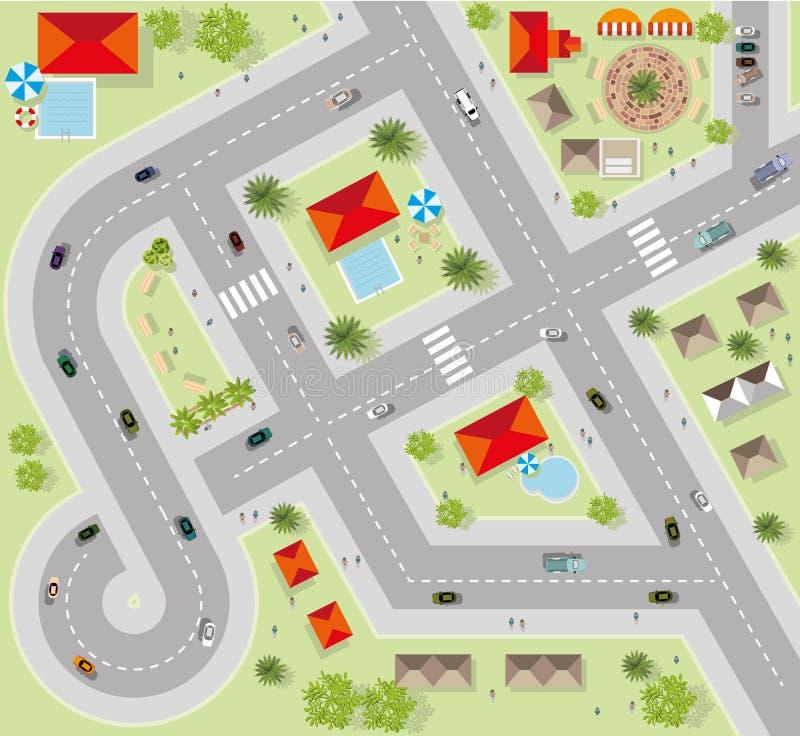 Odgórny widok miasto ulicy, drogi, domy, wektor royalty ilustracja