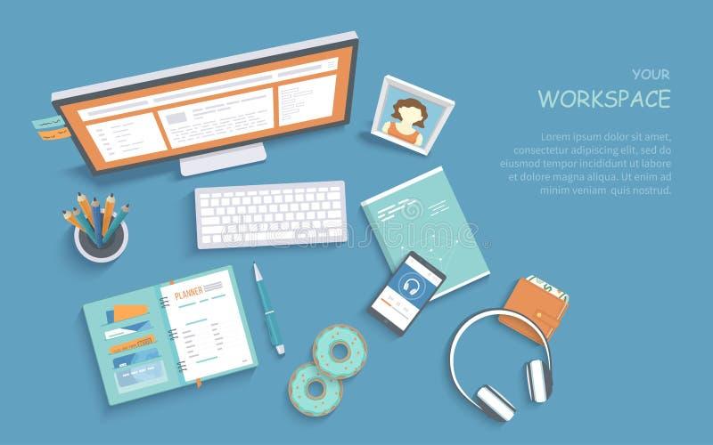 Odgórny widok miejsce pracy dostawy, monitor, klawiatura Nowożytny i elegancki workspace, organizacja praca w domu royalty ilustracja