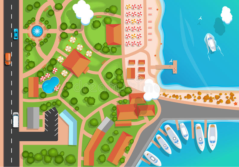 Odgórny widok miejscowość wypoczynkowa, park, droga, samochody, denny marina i cumujący jachty, Mieszkanie stylowa wektorowa ilus ilustracji