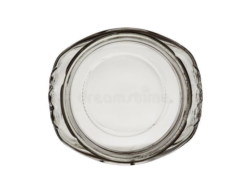 Odg?rny widok na pustym szklanym s?oju owalna forma odizolowywaj?ca na bia?ym tle zdjęcia stock