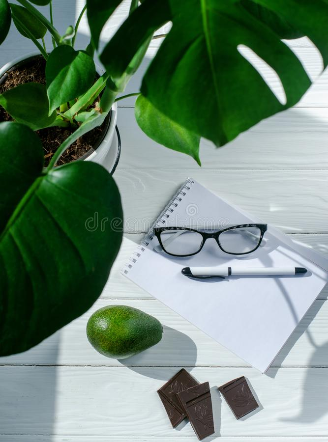 Odgórny widok notatnik, pióro, szkła i kwiat w puści, garnku, czekoladzie i avocado na białym drewnianym stole, zdjęcie stock