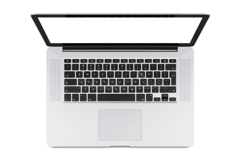 Odgórny widok nowożytny laptop z Angielską klawiaturą zdjęcie stock