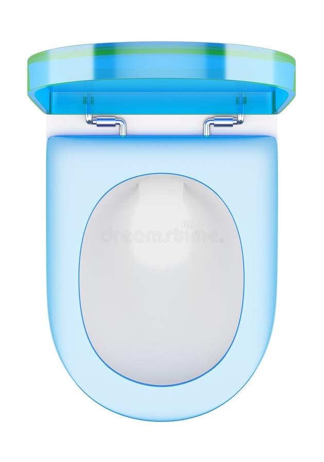Odgórny widok nowożytny toaletowy puchar z błękit pokrywą odizolowywającą na bielu ilustracji