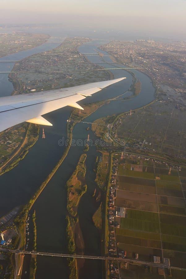 Odgórny widok od samolotu przy Nagoya obrazy stock
