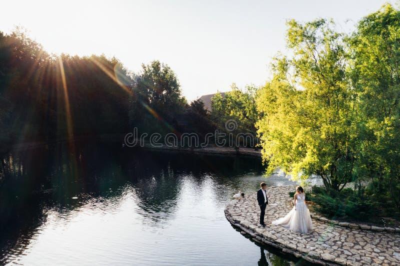 Odgórny widok od trutnia bank na błękitni jeziora, zieleni lasy i Trute? fotografia obrazy royalty free