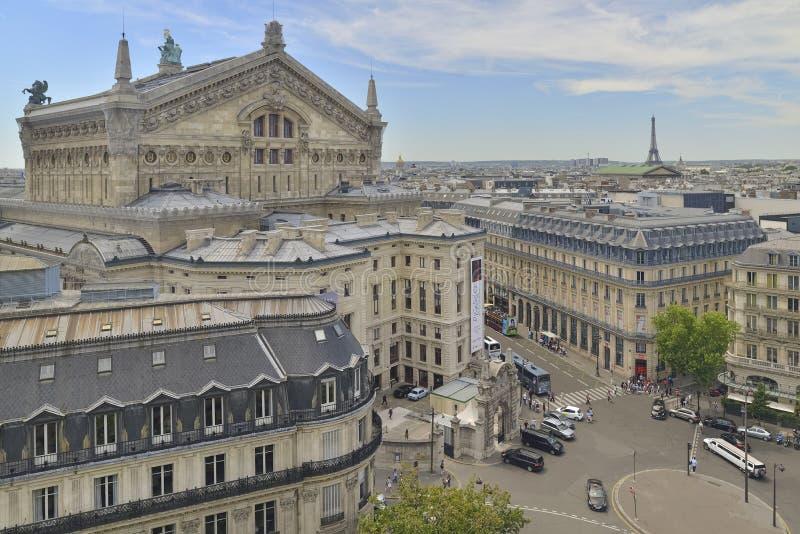 Odgórny widok Palais Garnier lub opera Krajowa akademia muzyka zdjęcie royalty free
