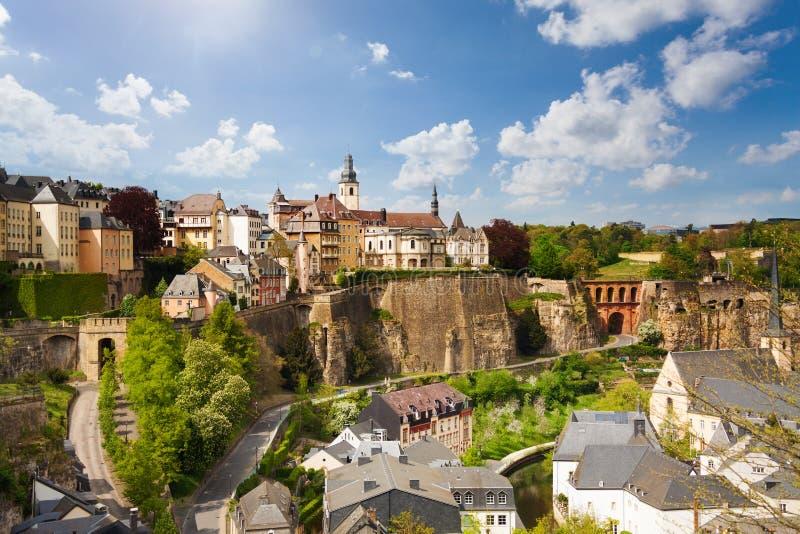Odgórny widok piękny Luxemburg miasto obrazy stock