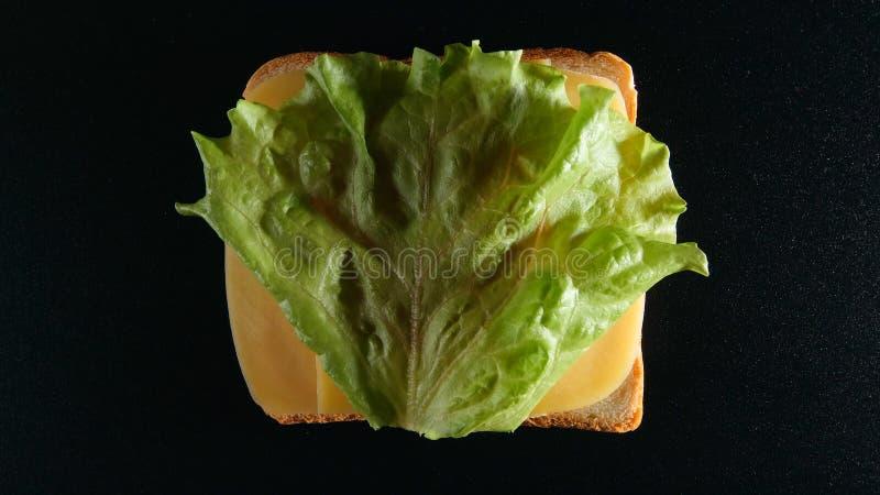ODGÓRNY widok: Plasterek chleb z sera i zieleń liścia lattuce obraz stock