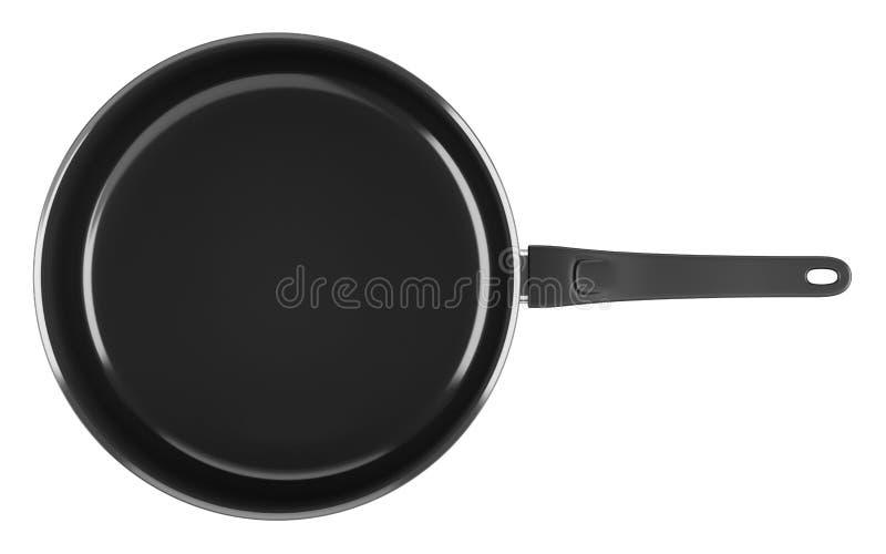 Odgórny widok pojedynczy czarny kucharstwo garnek odizolowywający na bielu royalty ilustracja