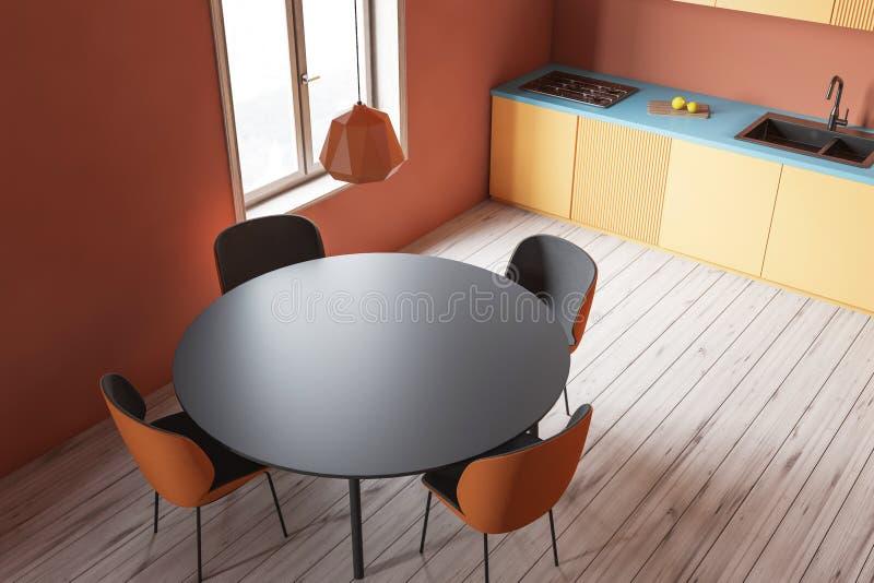 Odgórny widok pomarańczowa kuchnia z stołem ilustracji