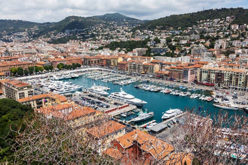 Odgórny widok port z jachtami w Ładnym, Francuskim Riviera, Francja obraz stock