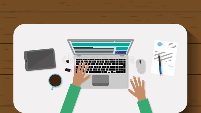 Odgórny widok pracujący miejsce z laptopem na drewnianym backgroung i dokumenty Płaski projekta surfingu biznesmen również zwróci ilustracji