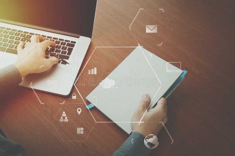 odgórny widok pracuje z laptopem i b biznesmen ręka ilustracji
