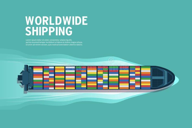 Odgórny widok przemysłowy morski naczynie przy dennym sztandarem Denny transport logistycznie Denni zafrachtowania Morska wysyłka ilustracji