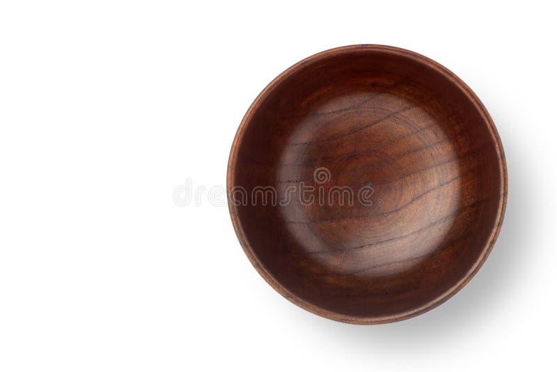 Odgórny widok pusty drewniany puchar obraz royalty free