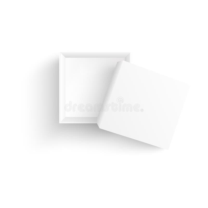 Odgórny widok pusty otwarty białej księgi pudełko w realistycznym 3d stylu royalty ilustracja