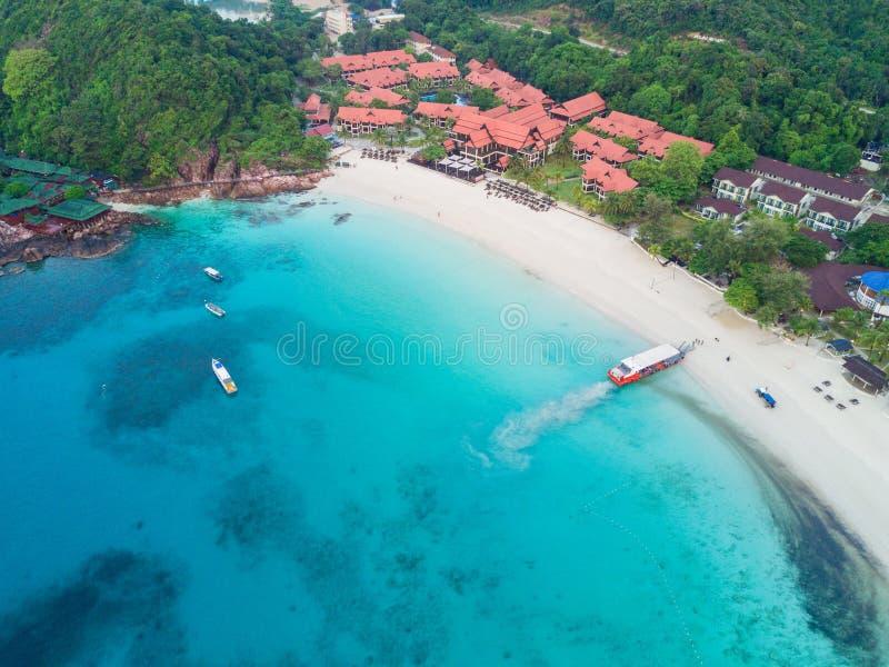 Odgórny widok Redang wyspy plaża obraz royalty free
