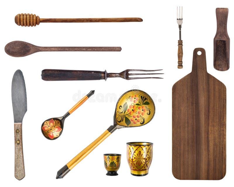 Odg?rny widok rocznika drewniany cutlery Rocznika cutlery Na bia?ym tle zdjęcie royalty free