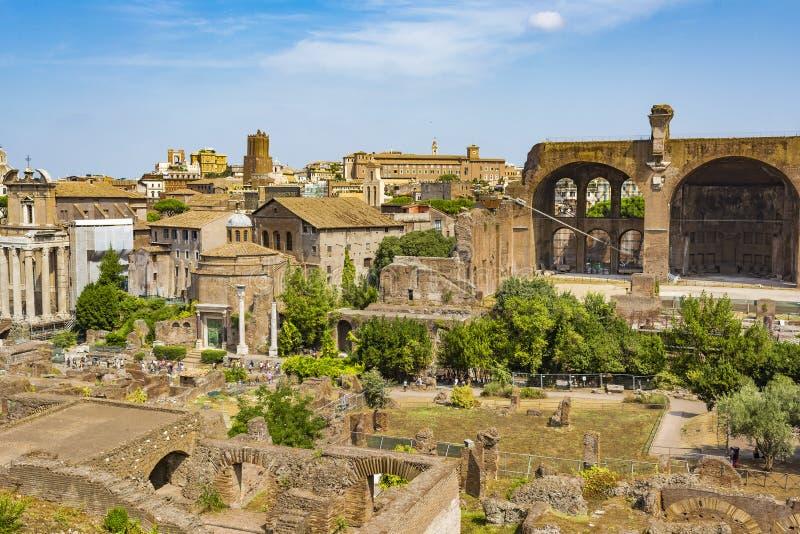 Odgórny widok Romański forum, Rzym Włochy zdjęcie stock