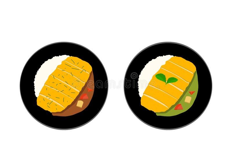 Odgórny widok, ryż z Smażącą wieprzowiną, Tonkatsu lub curry'ego ilustracja wektor