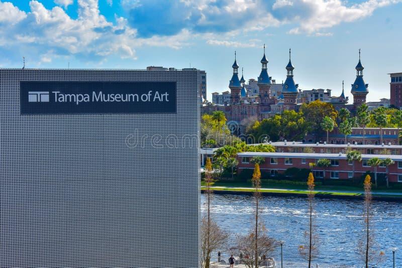 Odgórny widok rzeka i Henry b Tampa muzeum sztuki, Hillsborough, Rośliny muzeum w centrum miasta obrazy stock