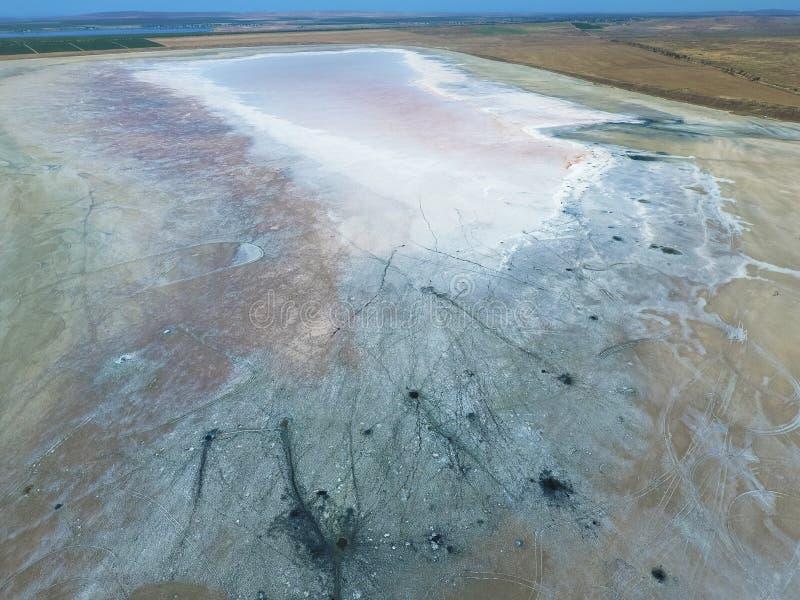 Odgórny widok słonego jeziora błota źródła Zewnętrznie podobieństwo z zdjęcie royalty free