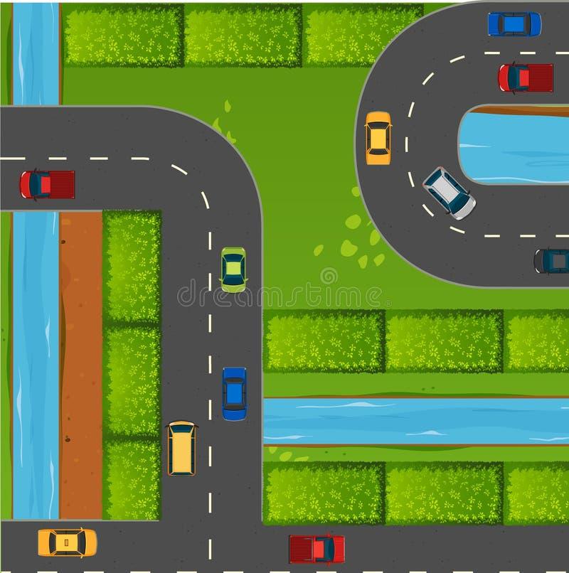 Odgórny widok samochody na drogach ilustracja wektor