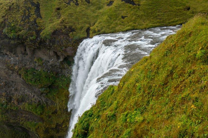 Odgórny widok Skogafoss siklawa, Południowy Iceland obrazy royalty free