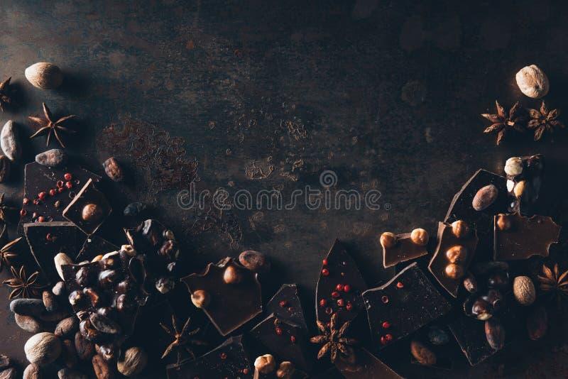 odgórny widok smakosz asortowana czekolada obraz royalty free