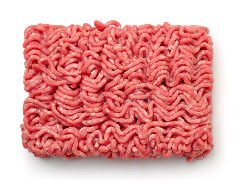 Odgórny widok surowy minced wołowiny mięso obrazy stock