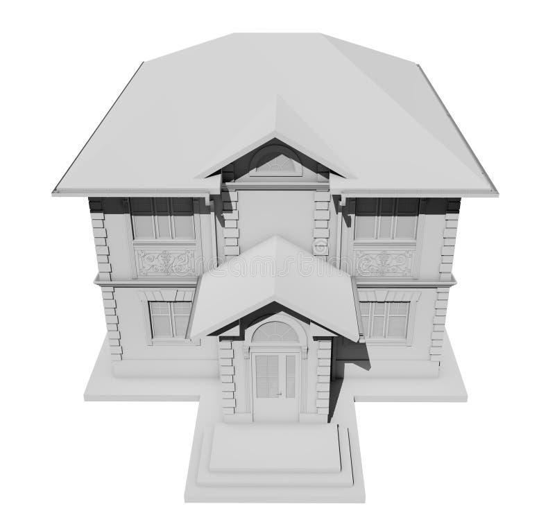 Odgórny widok symetryczna biała chałupa świadczenia 3 d ilustracja wektor