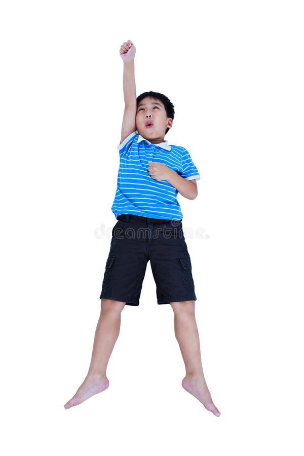 Odgórny widok szczęśliwy azjatykci dziecka spojrzenie jak latający bohater, isolat fotografia royalty free