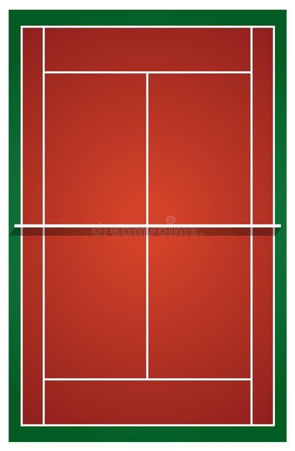 Odgórny widok tenisowy sąd ilustracji