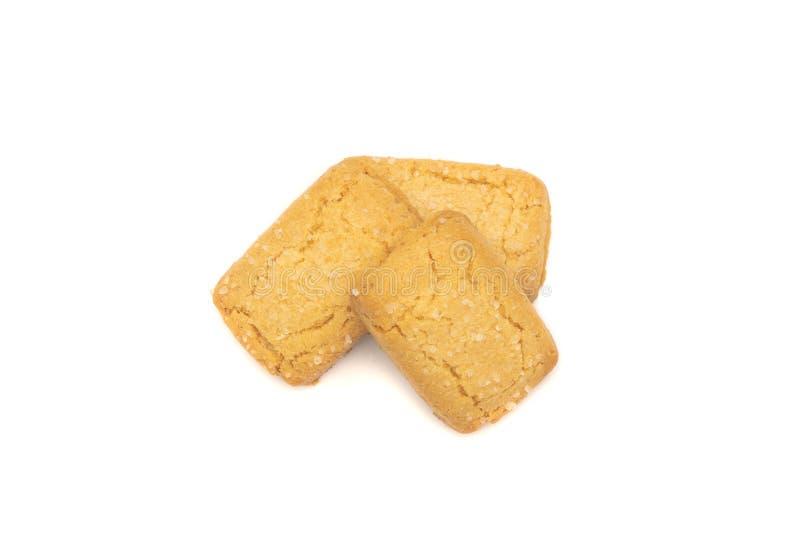 Odgórny widok trzy masła ciastka na białym tle obrazy stock