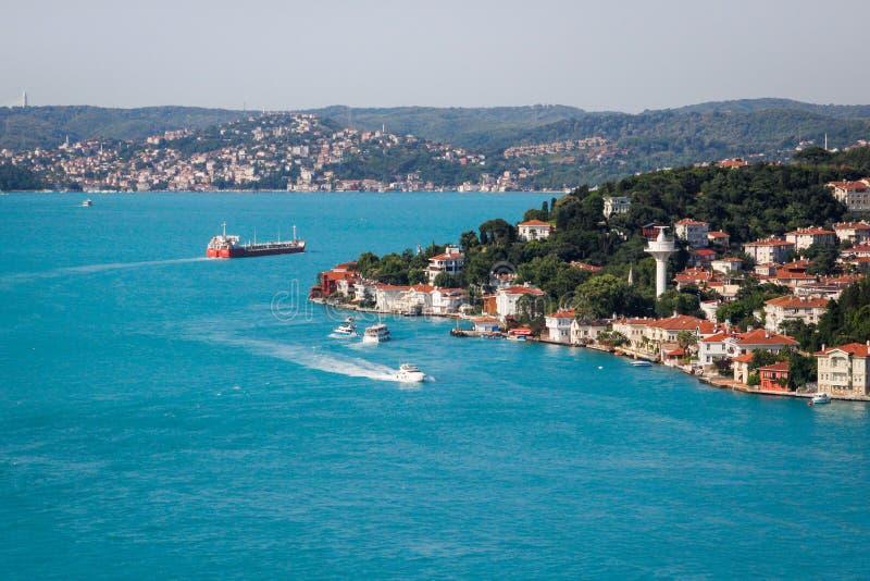 Odgórny widok turkusowa woda Bosphorus cieśnina w Istanbuł fotografia stock