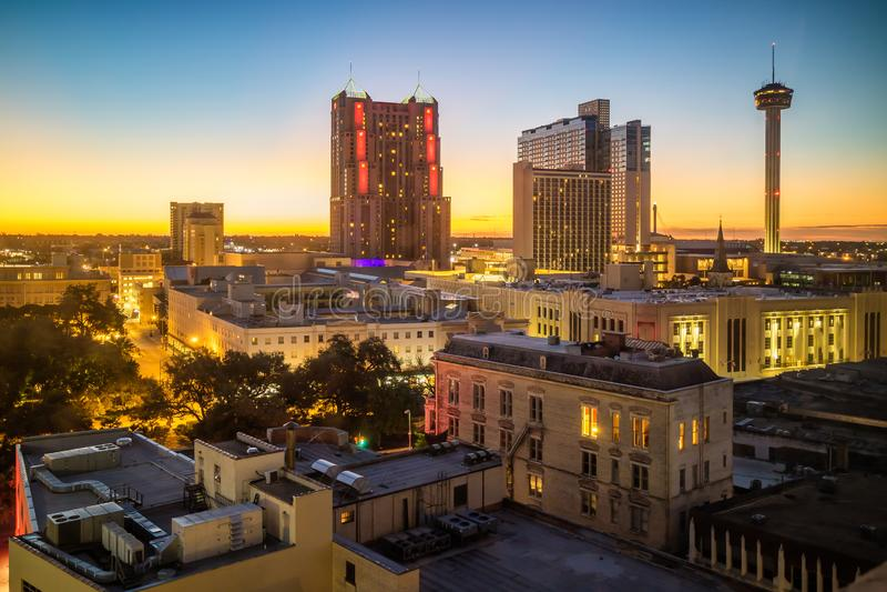 Odgórny widok w centrum San Antonio obraz royalty free