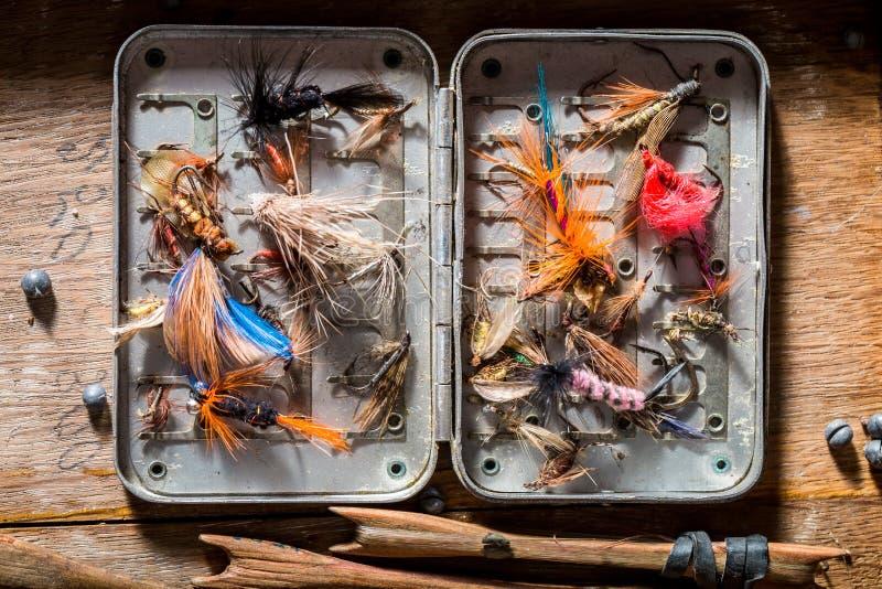 Odgórny widok wyposażenie dla łowić z pławikami i haczykami obraz royalty free