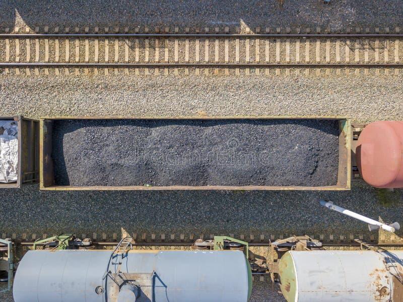 Odgórny widok z lotu ptaka węglowy kareciany ładunku pociąg na linii kolejowej stacji transport firma f zdjęcie royalty free