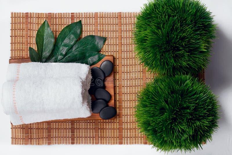 Odgórny widok zdrojów produkty e na białym tle Ręcznik, sól, Plumeria kwiat, puchar obrazy royalty free