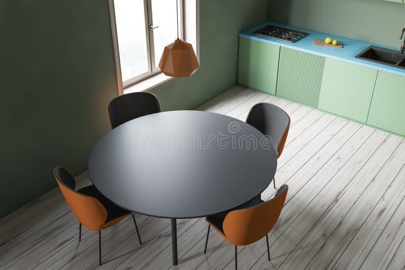 Odgórny widok zielona kuchnia z stołem royalty ilustracja