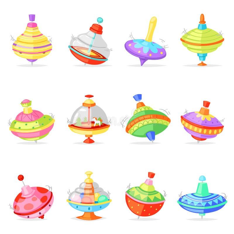 Odgórny zabawkarski wektor żartuje whirligig nuci kądziołka kolorowego przędzalnictwo bawić się gemowy ilustracyjnego ustawiające royalty ilustracja