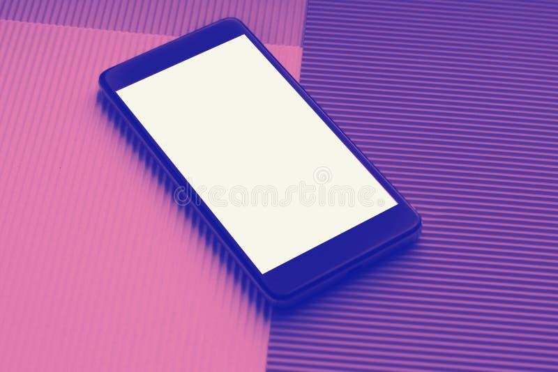 Odg?rnego widoku mockup smartphone przeciw modnemu multicolor t?u zdjęcia royalty free