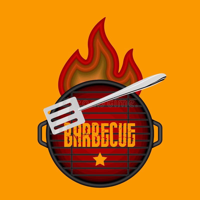 Odg?rny widok grilla grill ilustracji