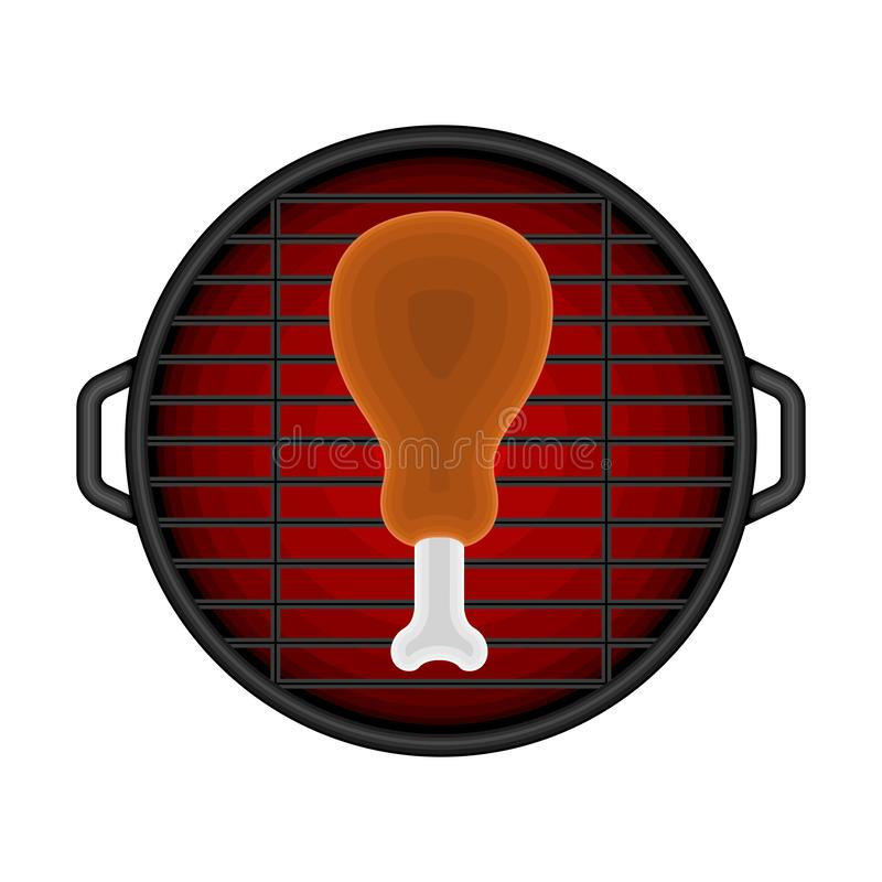 Odg?rny widok grilla grill royalty ilustracja