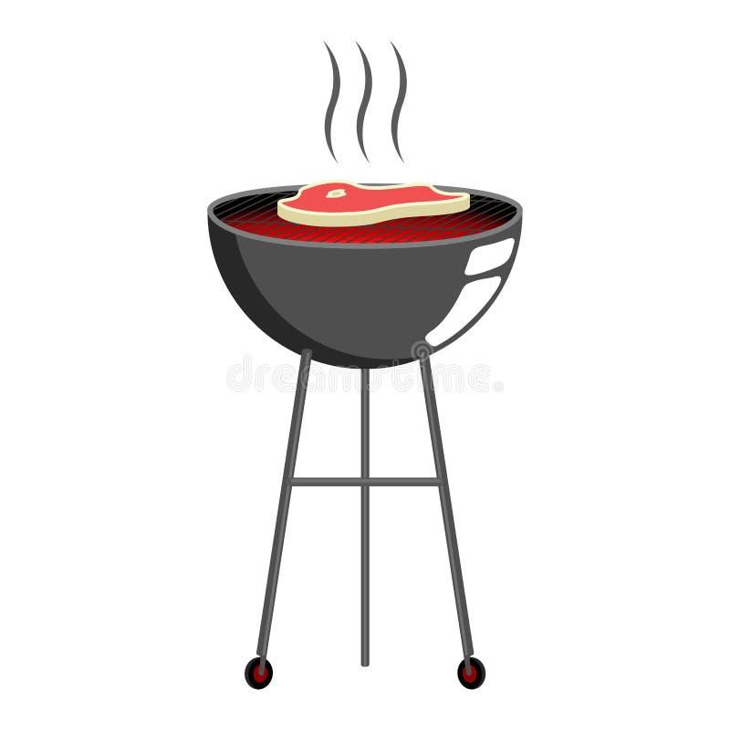 Odg?rny widok grilla grill ilustracja wektor