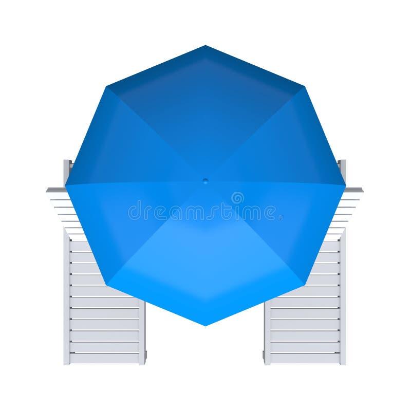Odg?rny widok Pla?owy krzes?o i parasol ?wiadczenia 3 d royalty ilustracja