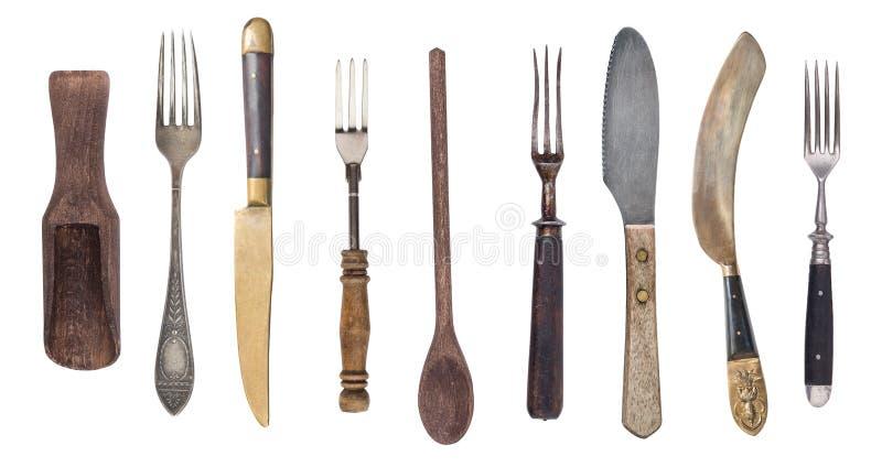 Odg?rny widok rocznika drewniany cutlery Rocznika cutlery pojedynczy bia?e t?o fotografia stock