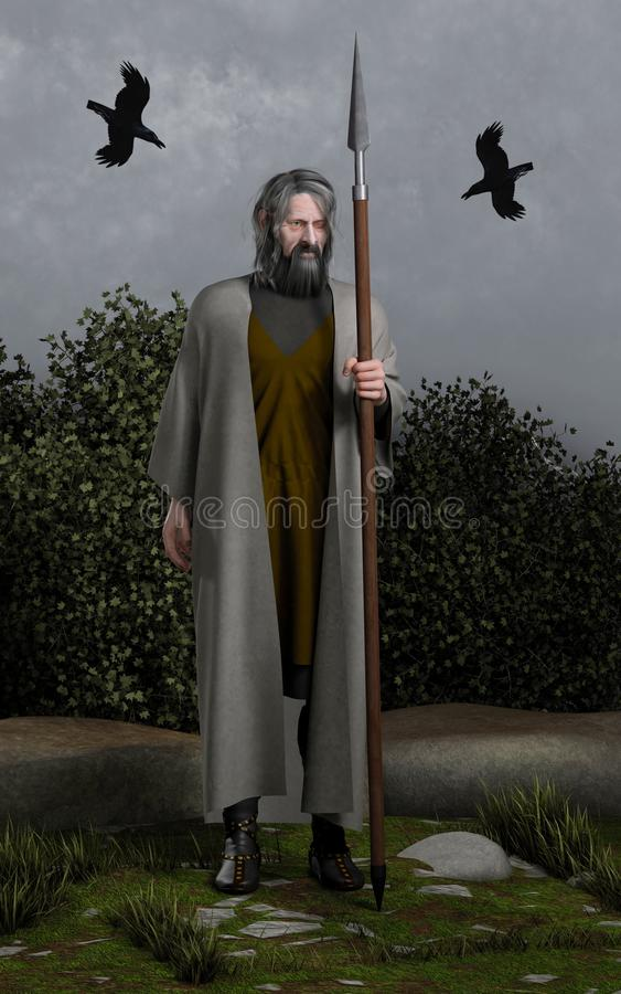 Odin the Allfather. Odin the Wanderer, Allfather of the Norse Gods with his spear (Gungnir) and the two ravens (Huginn and Muninn, Thought and Memory), 3d vector illustration