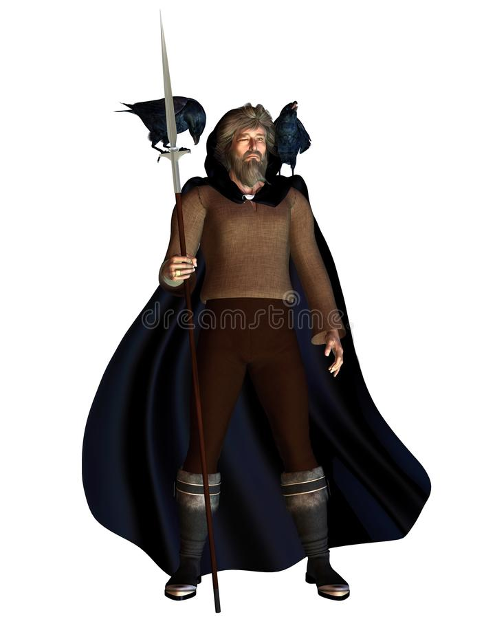 Odin the Wanderer. 3d Digitally rendered illustration of Odin the one-eyed chief god in Norse mythology with his spear (Gungnir), ring (Draupnir), and two ravens royalty free illustration