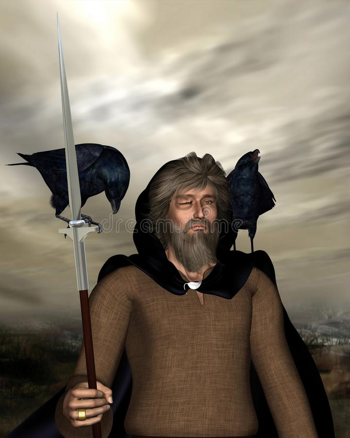 Odin the Wanderer - portrait. 3d Digitally rendered portrait illustration of Odin the one-eyed chief god in Norse mythology with his spear (Gungnir), ring ( stock illustration